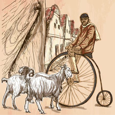 velocipede: BICYCLIST.Cyclist on the velocipede posing at the old village. In front of old houses are also two goats.Freehand sketching, line drawing. An hand drawn vector illustration.Colored line art technique.