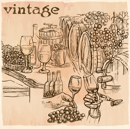 wine grapes: VINTAGE. On a visit to the wine cellar. Freehand sketching, line drawing. An hand drawn vector illustration. Line art technique.