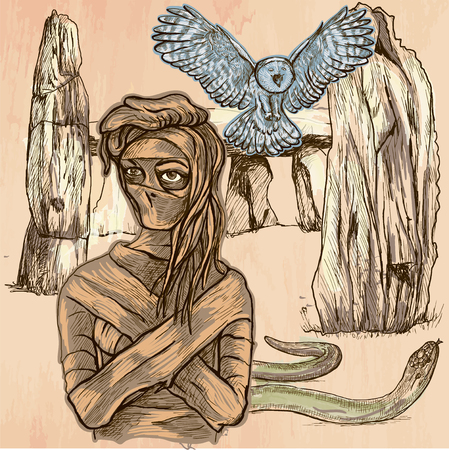 MUMMY. An mummy, flying owl and snake in front of stone menhir and dolmen. Freehand sketching, line drawing. An hand drawn vector illustration. Colored line art technique.