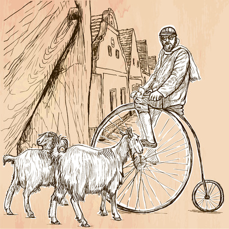 velocipede: BICYCLIST. Cyclist on the velocipede posing at the old village. In front of old houses are also two goats. Freehand sketching, line drawing. An hand drawn vector illustration. Line art technique. Illustration