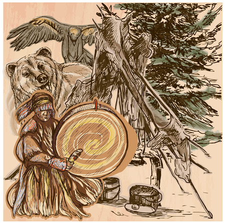 SHAMAN. Native man with drum.Drummer sitting in the forest.Near him are grizzly bear and eagle,also indian fireplace.Freehand sketching,line drawing.Hand drawn vector illustration.Line art technique.