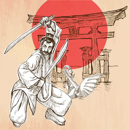 shinto: An Japan warrior with the swords, Shinto sign and white paper origami swan. Freehand sketching, line drawing. An hand drawn vector illustration. Line art technique. Illustration