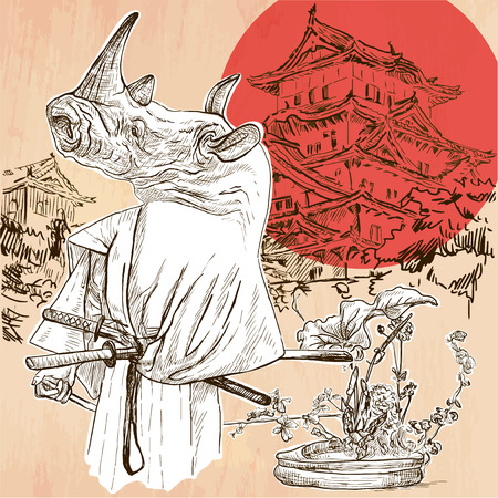 Japan. Rhino SAMURAI in front of palace, with flowers of ikebana at his feet. Freehand sketching, line drawing. An hand drawn vector illustration. Line art technique. Illustration