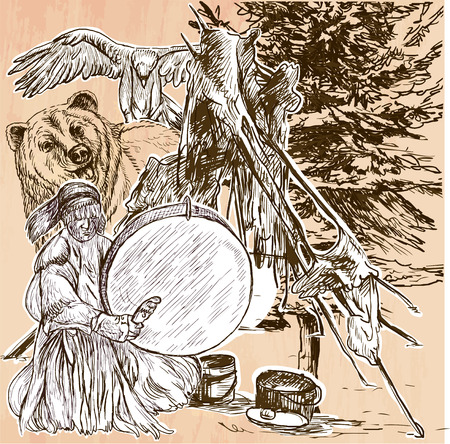 the art of divination: SHAMAN. Native man with drum.Drummer sitting in the forest.Near him are grizzly bear and eagle,also indian fireplace.Freehand sketching,line drawing.Hand drawn vector illustration.Line art technique.