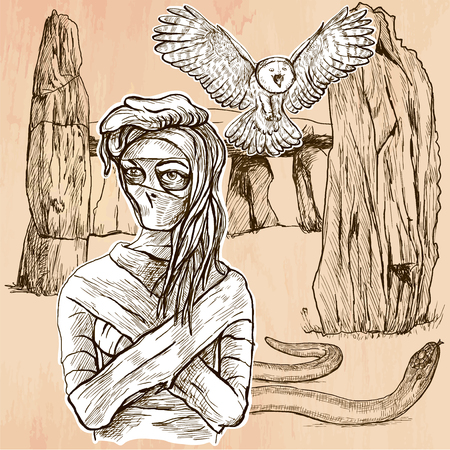 mystic place: MUMMY. An mummy, flying owl and snake in front of stone menhir and dolmen. Freehand sketching, line drawing. An hand drawn vector illustration. Line art technique.