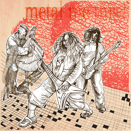 Metal music band. A group of three musicians playing hard rock music. Guitarists and bandura player. Freehand sketching, line drawing. An hand drawn vector illustration. Line art technique.