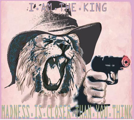 desperado: An hand drawn vector in the comic style - Lion the king. Placard - political poster - desperado, killer. Roaring predator lion with the hat on his head shooting from a revolver, pistol gun.