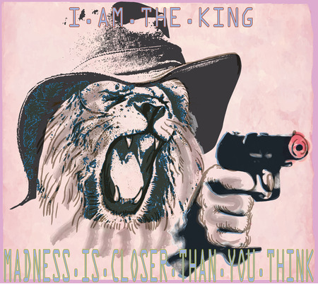 An hand drawn vector in the comic style - Lion the king. Placard - political poster - desperado, killer. Roaring predator lion with the hat on his head shooting from a revolver, pistol gun.