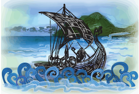 An hand drawn vector in comic style - Drekar boat, vikings ship. Marine vessel with an bearded warrior with the axe in his hands. Illustration