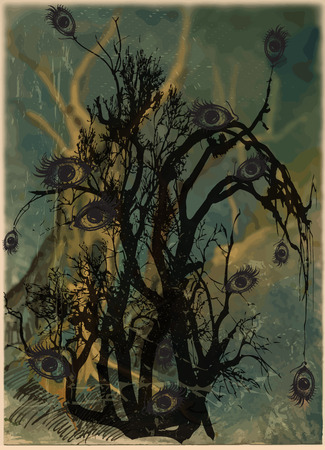 corpse: An hand drawn halloween vector, magical and mystical illustration. Halloween bush, forest - Eye tree. - Art project - blurred background - Illustration