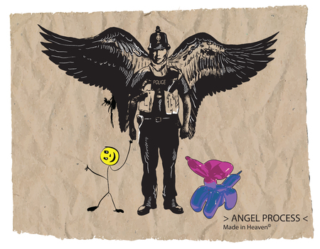 bobby: An hand drawn vector, comic - street art - style. Policeman. Police officer - Bobby. Guardian Angel, balloon dog and smiley face toy. Illustration