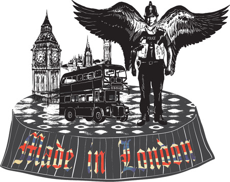 An hand drawn vector, comic - street art - style. Policeman. Police officer - Bobby. London town, England. Angel bobby, Big Ben and Double decker bus. Illustration