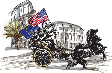 old times: An hand drawn vector illustration. Antiquity as contemporary theme - EU and USA may win together ... APOLLO AND DIANA, palm and Colosseum