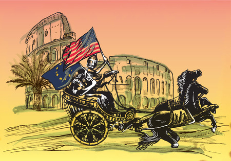 An hand drawn vector illustration. Antiquity as contemporary theme - EU and USA may win together ... APOLLO AND DIANA, palm and Colosseum