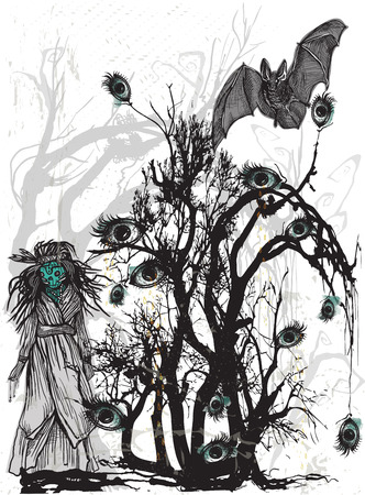 magical forest: An hand drawn halloween vector, magical and mystical illustration. Halloween bush, forest - Crying eye tree and horror doll, scary puppet. - Art project - blurred background - Illustration
