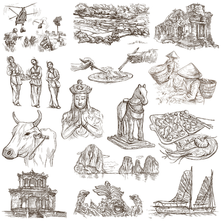 sized: Travel series,VIETNAM,Socialist Republic of Vietnam.Pictures of Life.Collection of an hand drawn illustrations.Pack of full sized hand drawn illustrations,set of freehand sketches.Drawing on white.
