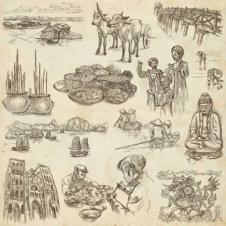 socialist: Travel series,VIETNAM,Socialist Republic of Vietnam.Pictures of Life.Collection of an hand drawn illustrations.Pack of full sized hand drawn illustrations,set of freehand sketches.Drawing on old paper Stock Photo