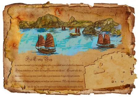 old aged: An hand drawn illustration, travel - Vietnam. Ha Long Bay. Hand drawing picture on old aged paper.