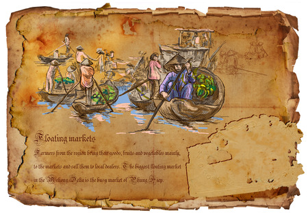 old aged: An hand drawn illustration, travel - Vietnam. Floating markets. Hand drawing picture on old aged paper.