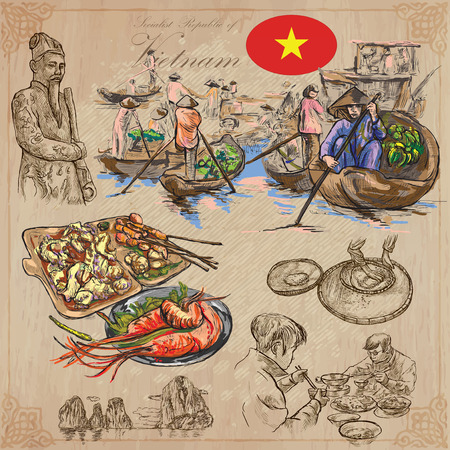 collection series: Travel series, VIETNAM. Socialist Republic of Vietnam. Pictures of Life. Colored vector collection of an hand drawn illustrations. Line art set. Pack of hand drawn colored illustrations. Sketches. Illustration