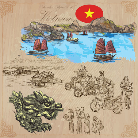 socialist: Travel series, VIETNAM. Socialist Republic of Vietnam. Pictures of Life. Colored vector collection of an hand drawn illustrations. Line art set. Pack of hand drawn colored illustrations. Sketches. Illustration