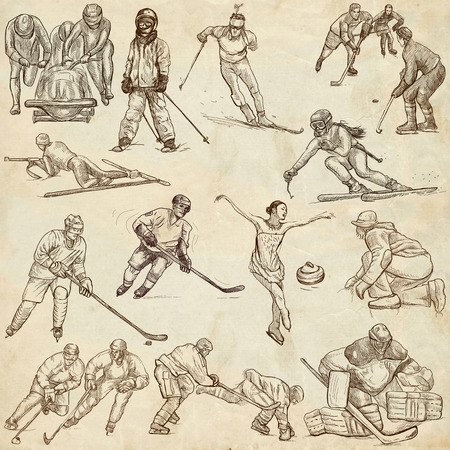 WINTER SPORTS. Collection of an hand drawn illustrations. Set of full sized drawings on old paper. Ice hockey, figure skating, bobsleigh and skiing pack. Standard-Bild