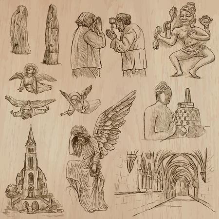 Religiosa en todo el mundo paquete, vector, set. RELIGIÓN. Colección de una ilustraciones dibujadas a mano. Cada dibujo comprende un par de capas de contornos, se aísla el fondo de color. Dibujo a mano. Foto de archivo - 67917933