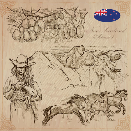 kiwi fruit: Travel NEW ZEALAND. Pictures of Life. Vector collection of an hand drawn illustrations. Pack of sketches. Set includes - Kiwi fruit on the tree, Young farmer with lamb, mountains and Wild horses.