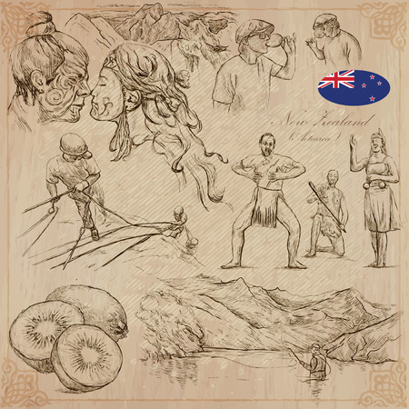 kiwi fruit: Travel NEW ZEALAND.Pictures of Life.Vector collection.Hand drawn illustrations.Pack of sketches.Set includes,Maori people kiss,Mountains,Wine toast,Climbers,Aboriginal dancers,Kiwi fruit and Fisherman Illustration