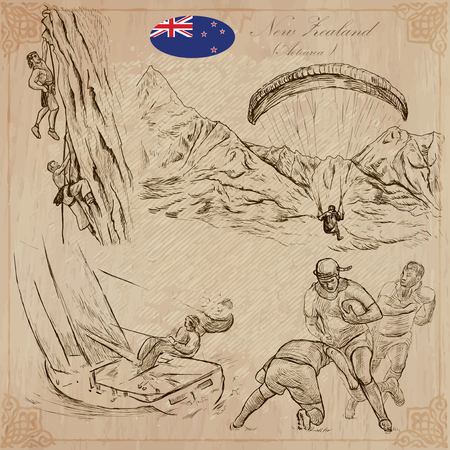 yachting: Travel NEW ZEALAND. Pictures of Life - Sport. Vector collection. Hand drawn illustrations. Pack of sketches. Set includes - Climbing, Climbers, Parachute, Paragliding, Yachting and  Rugby team.