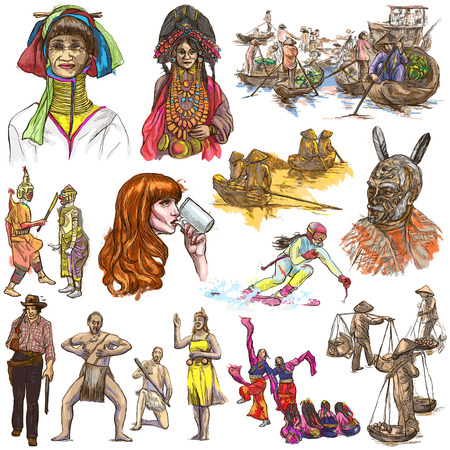 UNITED COLORS OF HUMAN RACE, People around the World - Hand drawing collection. Full sized colored hand drawn illustrations, original freehand sketches. Drawing on white, isolated. Stock Photo
