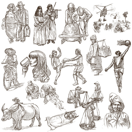 UNITED COLORS OF HUMAN RACE, People around the World - Hand drawing collection. Full sized  hand drawn illustrations, original freehand sketches. Drawing on white, isolated.