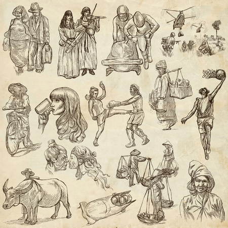 UNITED COLORS OF HUMAN RACE, People around the World - Hand drawing collection. Full sized  hand drawn illustrations, original freehand sketches. Drawing on old paper.
