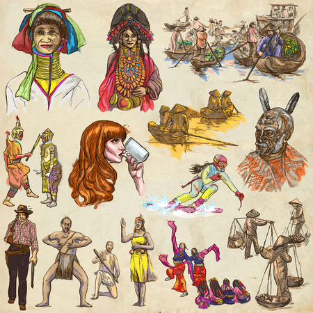 classical theater: UNITED COLORS OF HUMAN RACE, People around the World - Hand drawing collection. Full sized colored hand drawn illustrations, original freehand sketches. Drawing on old paper. Stock Photo