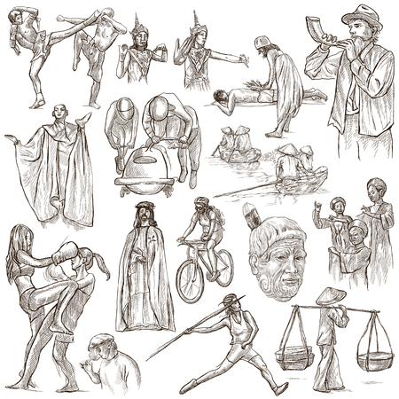 thai dance: UNITED COLORS OF HUMAN RACE, People around the World - Hand drawing collection. Full sized  hand drawn illustrations, original freehand sketches. Drawing on white, isolated.