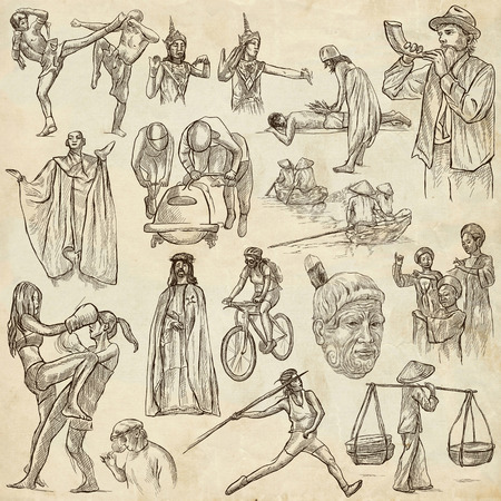 thai dance: UNITED COLORS OF HUMAN RACE, People around the World - Hand drawing collection. Full sized  hand drawn illustrations, original freehand sketches. Drawing on old paper.