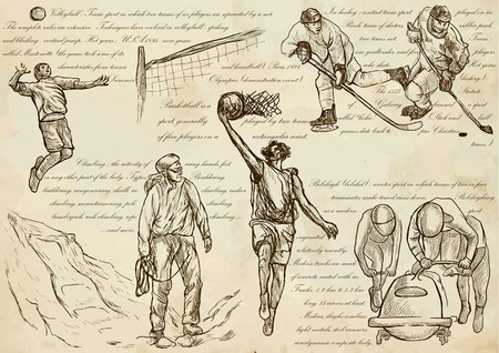 SPORT mix.Sporting events around the World.An hand drawn vector illustrations-collection.Set of freehand sketches.Hand drawing pack.Line art.Volleyball, Ice hockey, Climbing, Basketball, Bobsleigh.