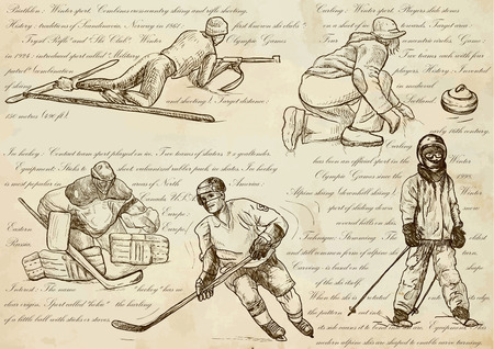 crosscountry: WINTER SPORTS.Sporting events around the World.An hand drawn vector illustrations - sport collection.Set of freehand sketches.Hand drawing pack.Line art technique.Curling, Ice hockey, Skiing, Biathlon Illustration