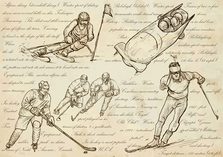 crosscountry: WINTER SPORTS.Sporting events around the World.An hand drawn vector illustrations - sport collection.Set of freehand sketches.Hand drawing pack.Line art.Downhill skiing, Bobsled, Ice hockey, Biathlon. Illustration