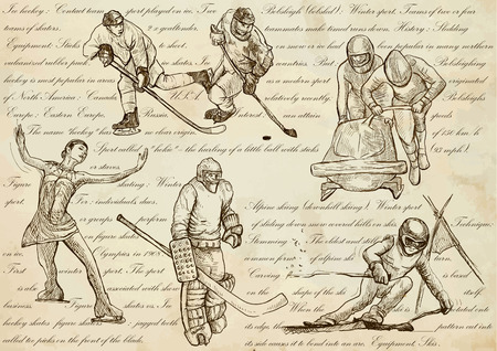 WINTER SPORTS. Sporting events around the World.An hand drawn vector illustrations - sport collection.Set of freehand sketches.Hand drawing pack.Line art. Ice hockey, Bobsleigh, Figure skating, Skiing Illustration