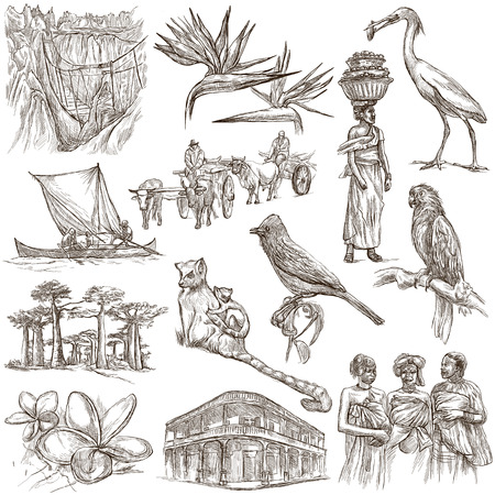 マダガスカルを旅行します。写真生活 - と自然 - 世界で最も大きい島の 1 つ。フルサイズの手描きのコレクション。手描きのイラスト。白地では、 写真素材