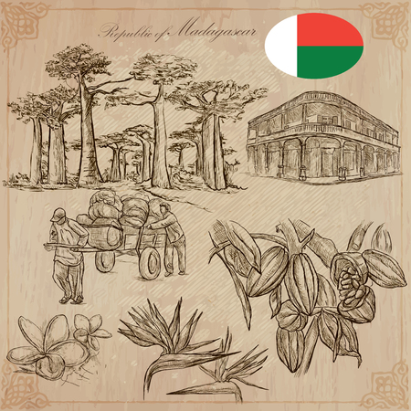 Travel MADAGASCAR. Pictures from the Life - and Nature - of one of the largest to the Island in the World. Vector collection. Hand drawn illustrations. Pack of freehand sketches.