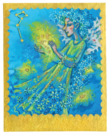 poetical: An hand drawn illustration, Tarot deck, card - MIRACLES. Colored, painted. Painting converted into vector file.