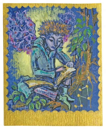 poetical: An hand drawn illustration, Tarot deck, card - STUDY. Colored, painted. Painting converted into vector file.