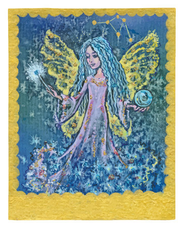 An hand drawn illustration, Tarot deck, card - FULLFILED WISHES. Colored, painted. Painting converted into vector file.