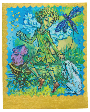playfulness: An hand drawn illustration, Tarot deck, card - PLAYFULNESS. Colored, painted. Painting converted into vector file. Illustration