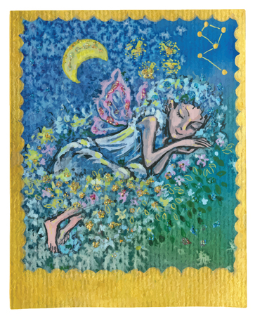 An hand drawn illustration, Tarot deck, card - NICE DREAMS. Colored, painted. Painting converted into vector file. Illustration