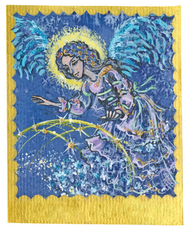 poetical: An hand drawn illustration, Tarot deck, card - GUARDIAN ANGEL. Colored, painted. Painting converted into vector file.