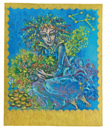 poetical: An hand drawn illustration, Tarot deck, card - ABUDANCE. Colored, painted. Painting converted into vector file. Illustration