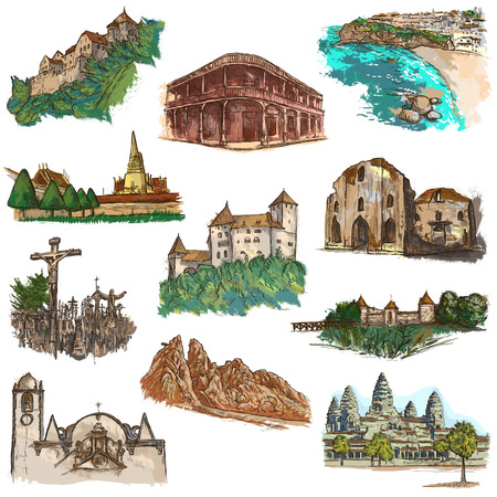 Hand drawn illustratoins of Buildings, Places and Architecture around the World. Different styles. Full sized hand drawing colored collection. Pack of freehand sketches on white background. Stock Photo